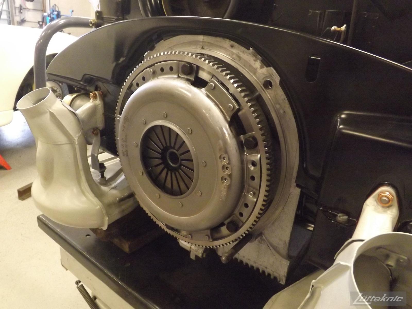 Clutch assembly shown of an Irish Green Porsche 912 undergoing restoration at Lufteknic.