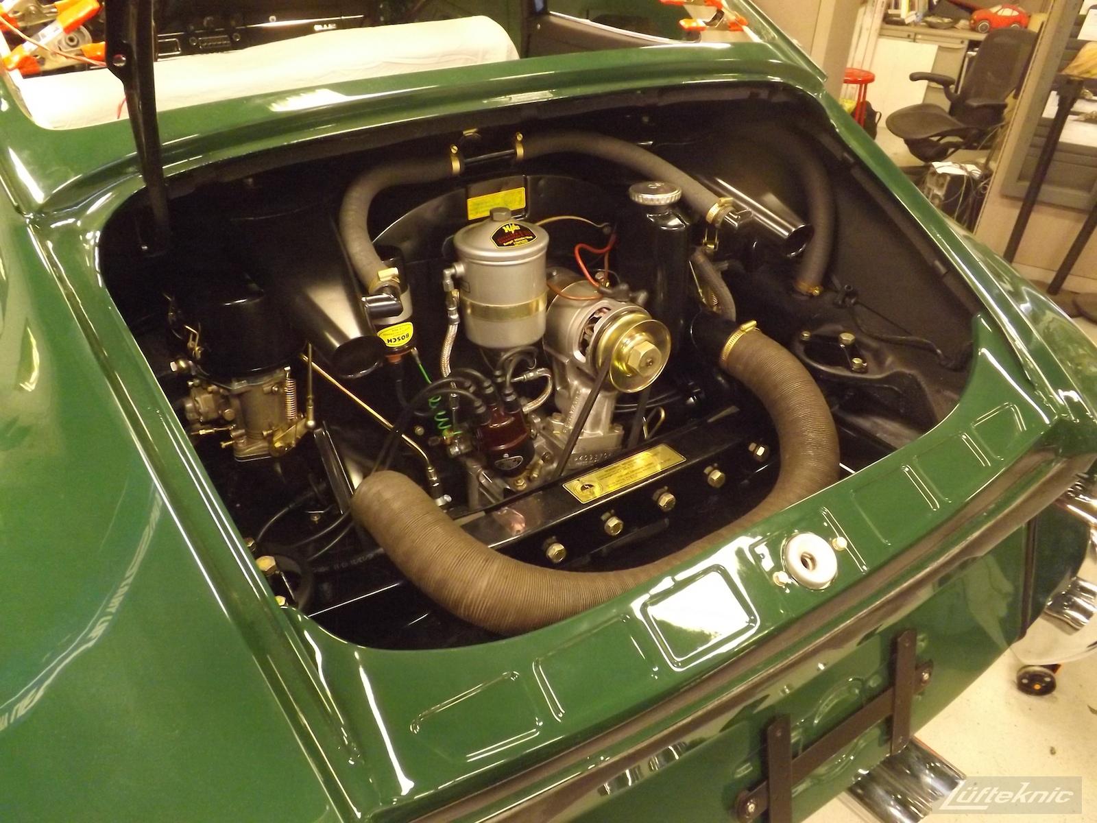 Engine installed into an Irish Green Porsche 912 undergoing restoration at Lufteknic.