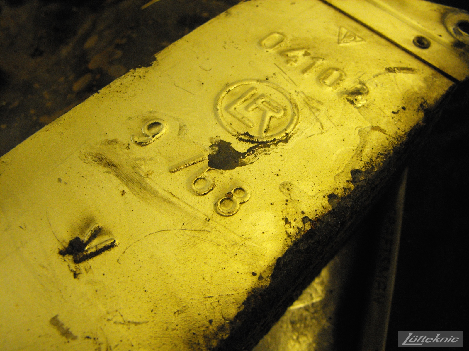 Date stamp on an oil cooler from an Irish Green Porsche 912 undergoing restoration at Lufteknic.