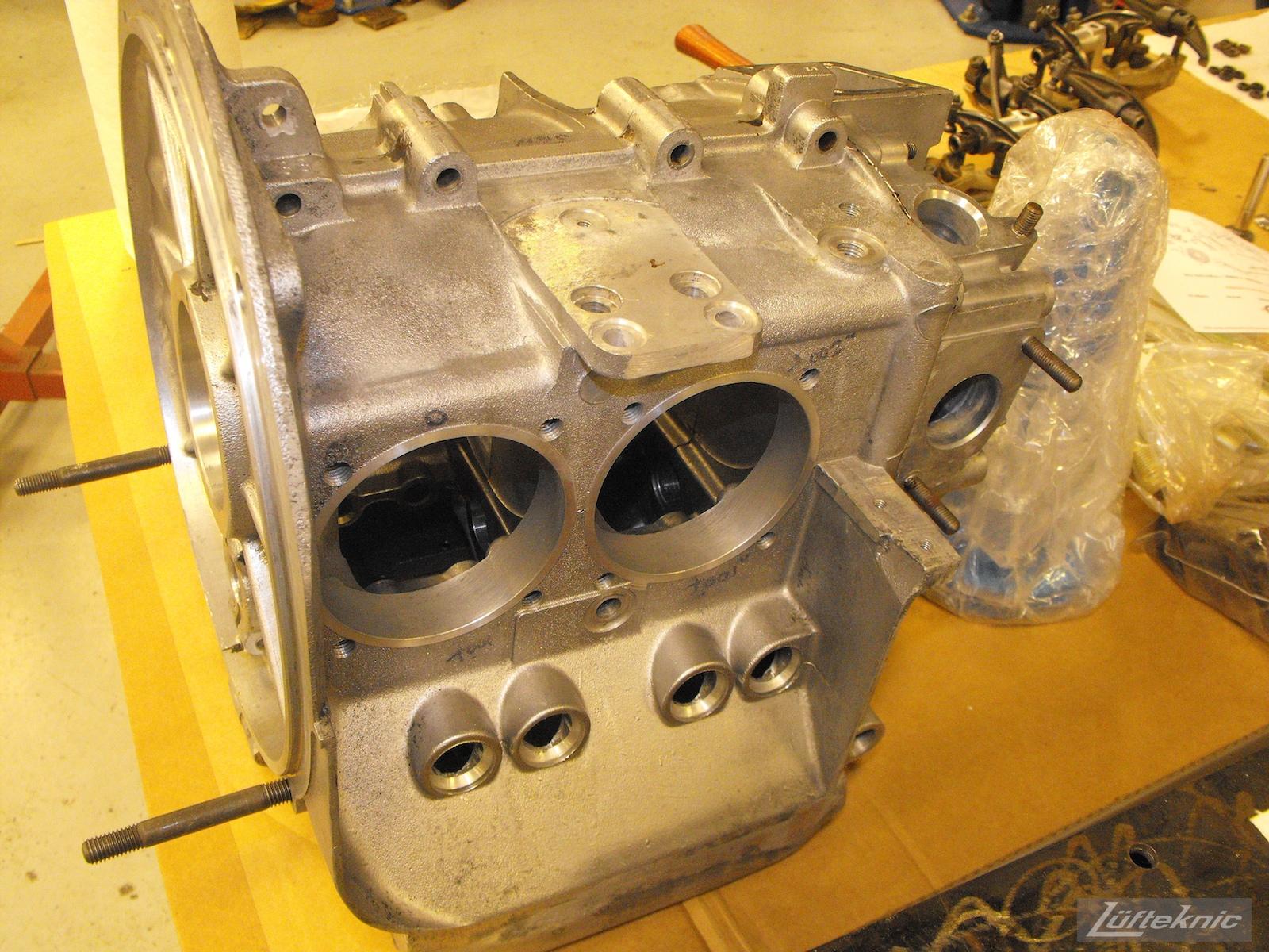 Fresh engine case for an Irish Green Porsche 912 undergoing restoration at Lufteknic.