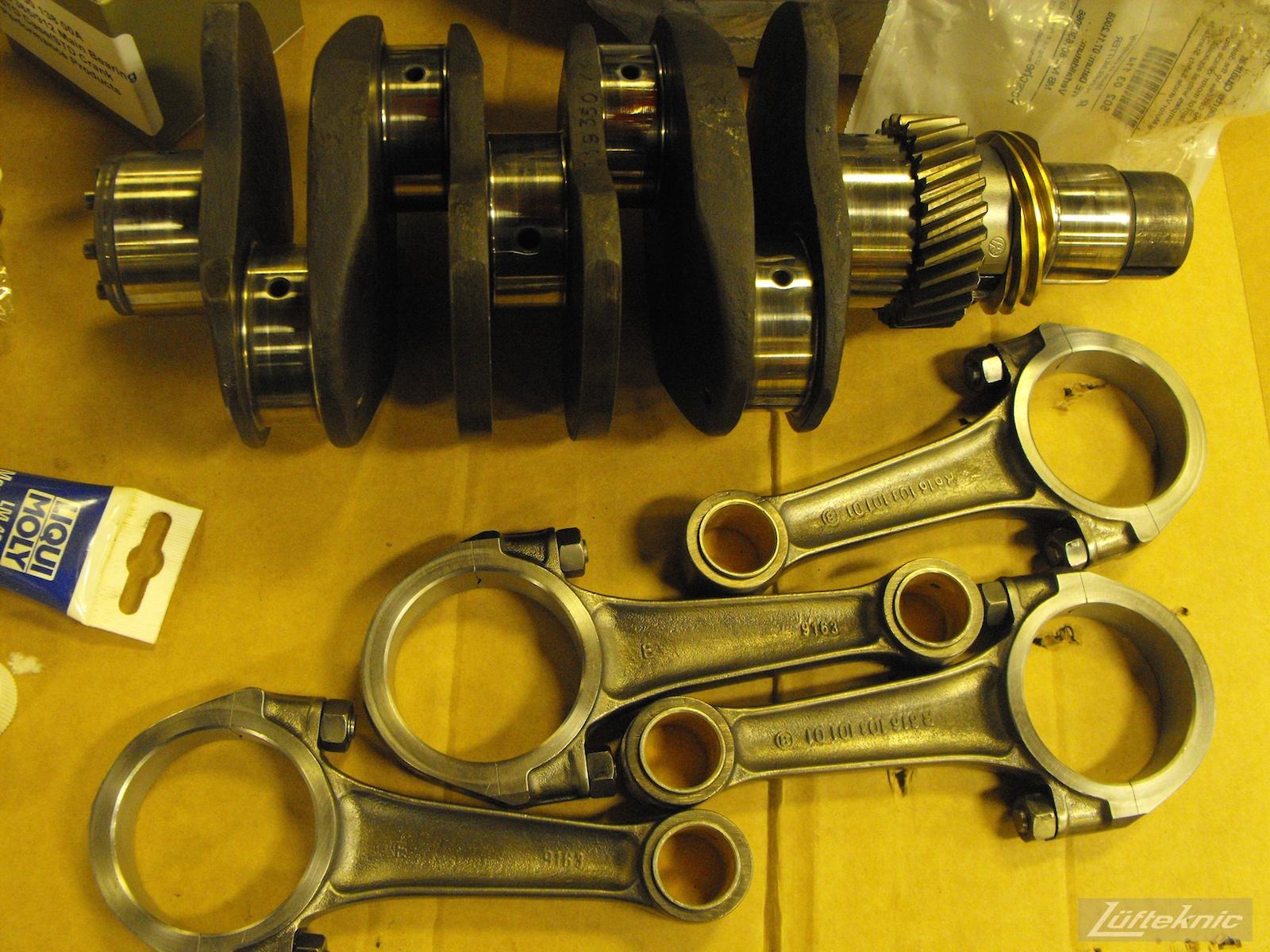 Fresh refinished engine parts for an Irish Green Porsche 912 undergoing restoration at Lufteknic.