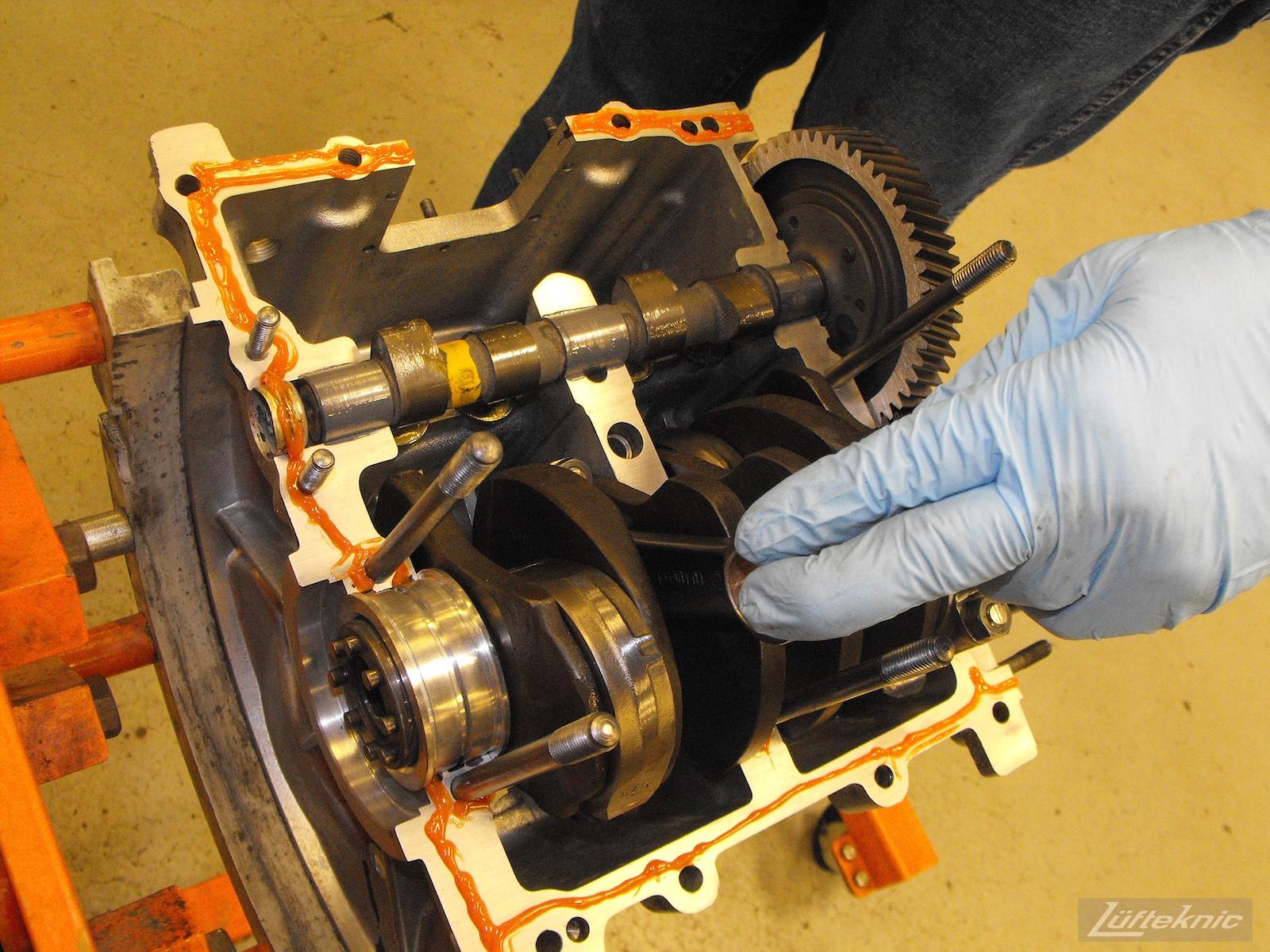 Engine assembly for an Irish Green Porsche 912 undergoing restoration at Lufteknic.