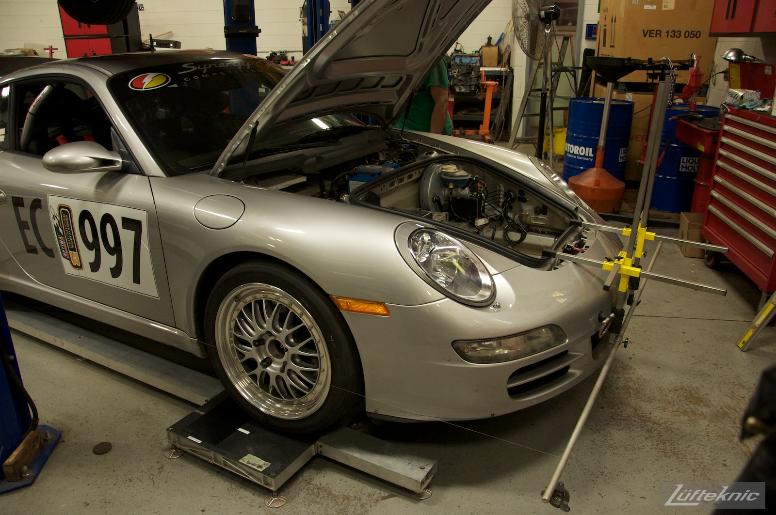 Synergy Racing modified Porsche 911 track car being updated at Lufteknic.