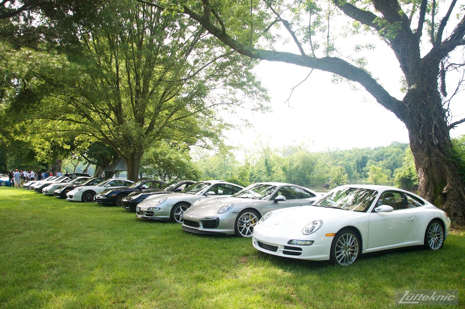 A line of Porsches at the Richmond Porsche Meet.