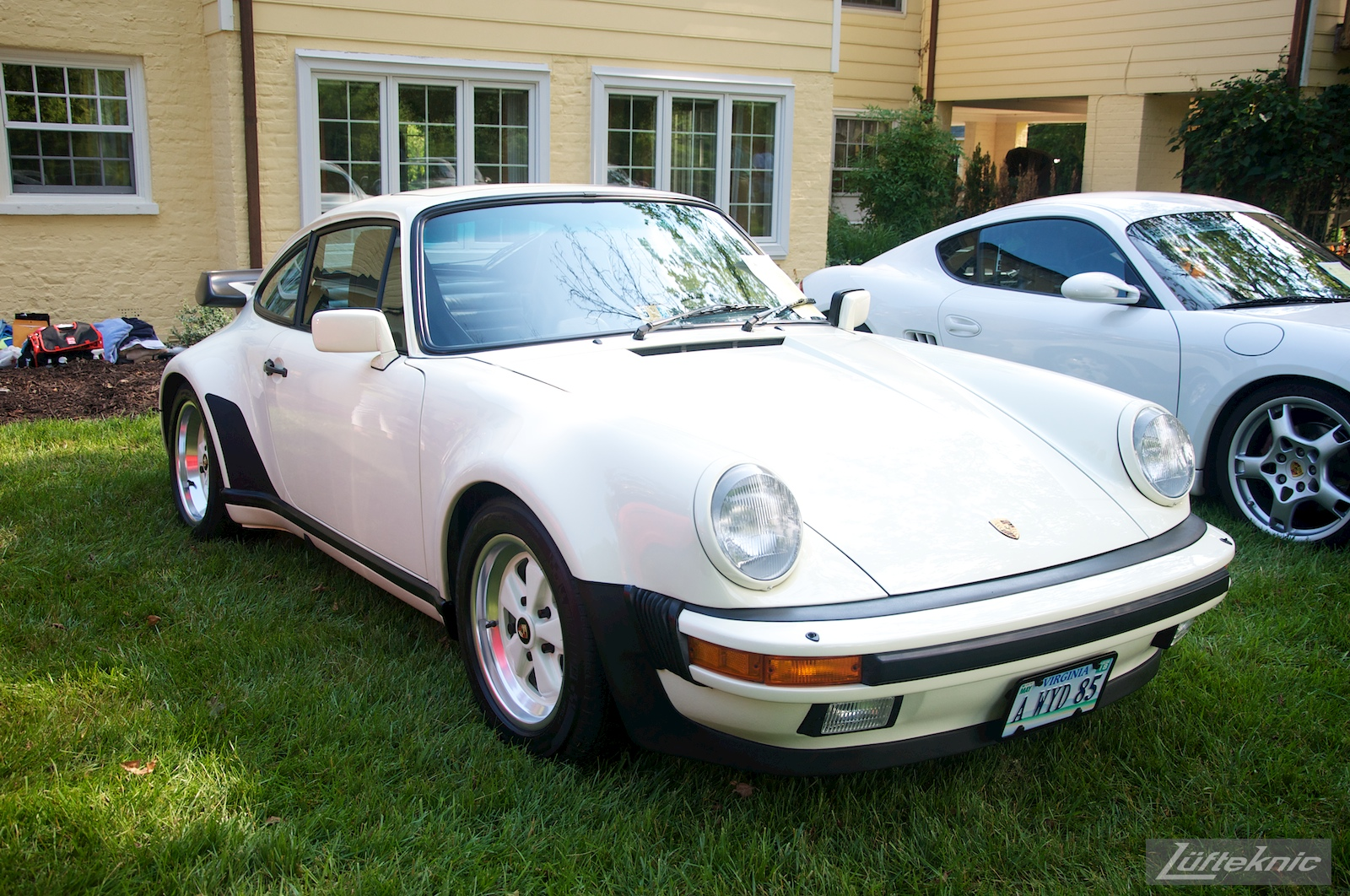 Insanely clean linen white 911 at the Richmond Porsche Meet.