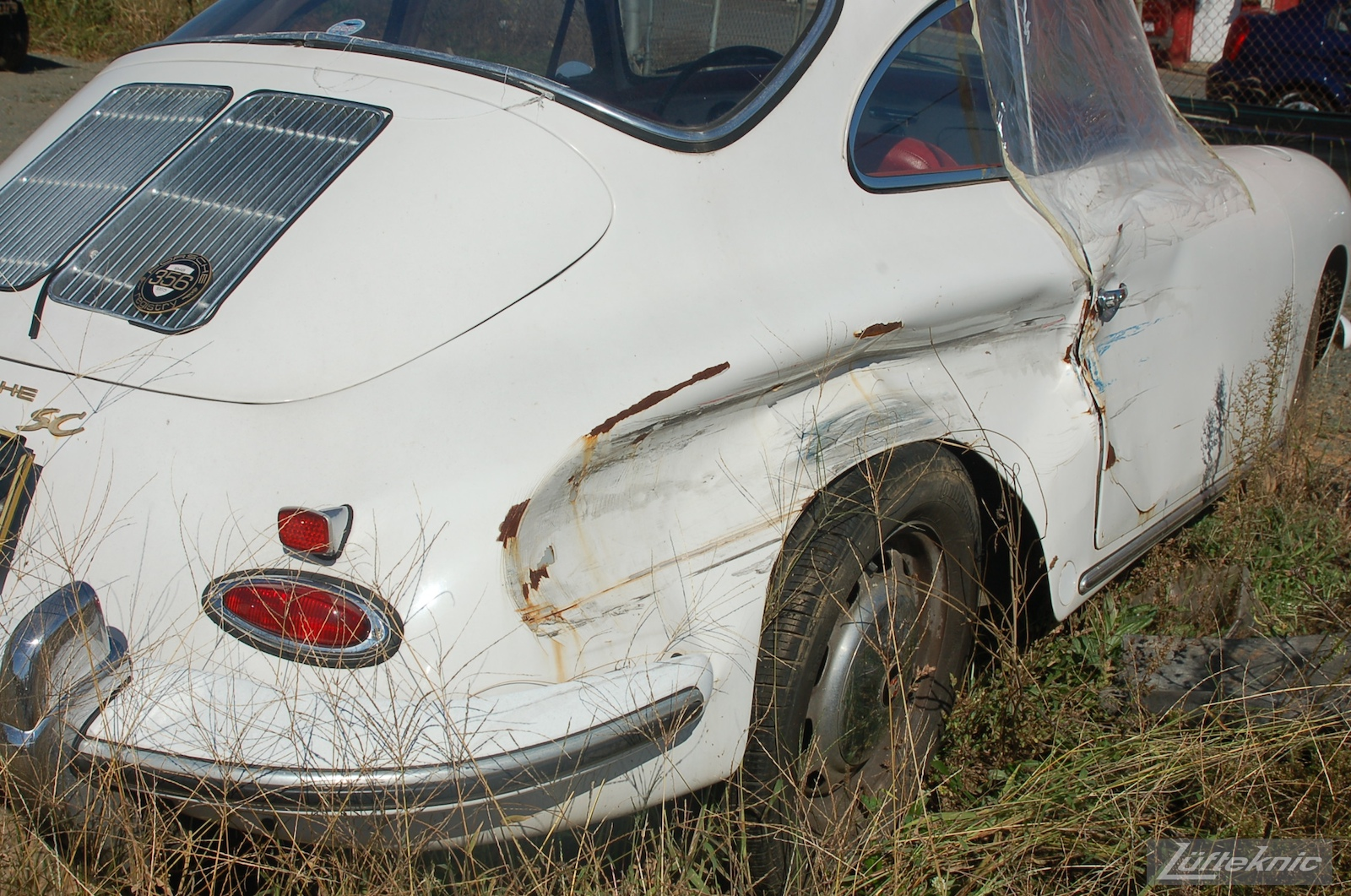 1964 Porsche 356SC restoration as found in a field.