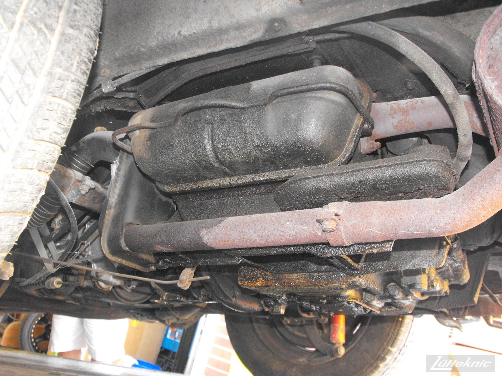Underneath the engine of a 1964 Porsche 356SC restoration.