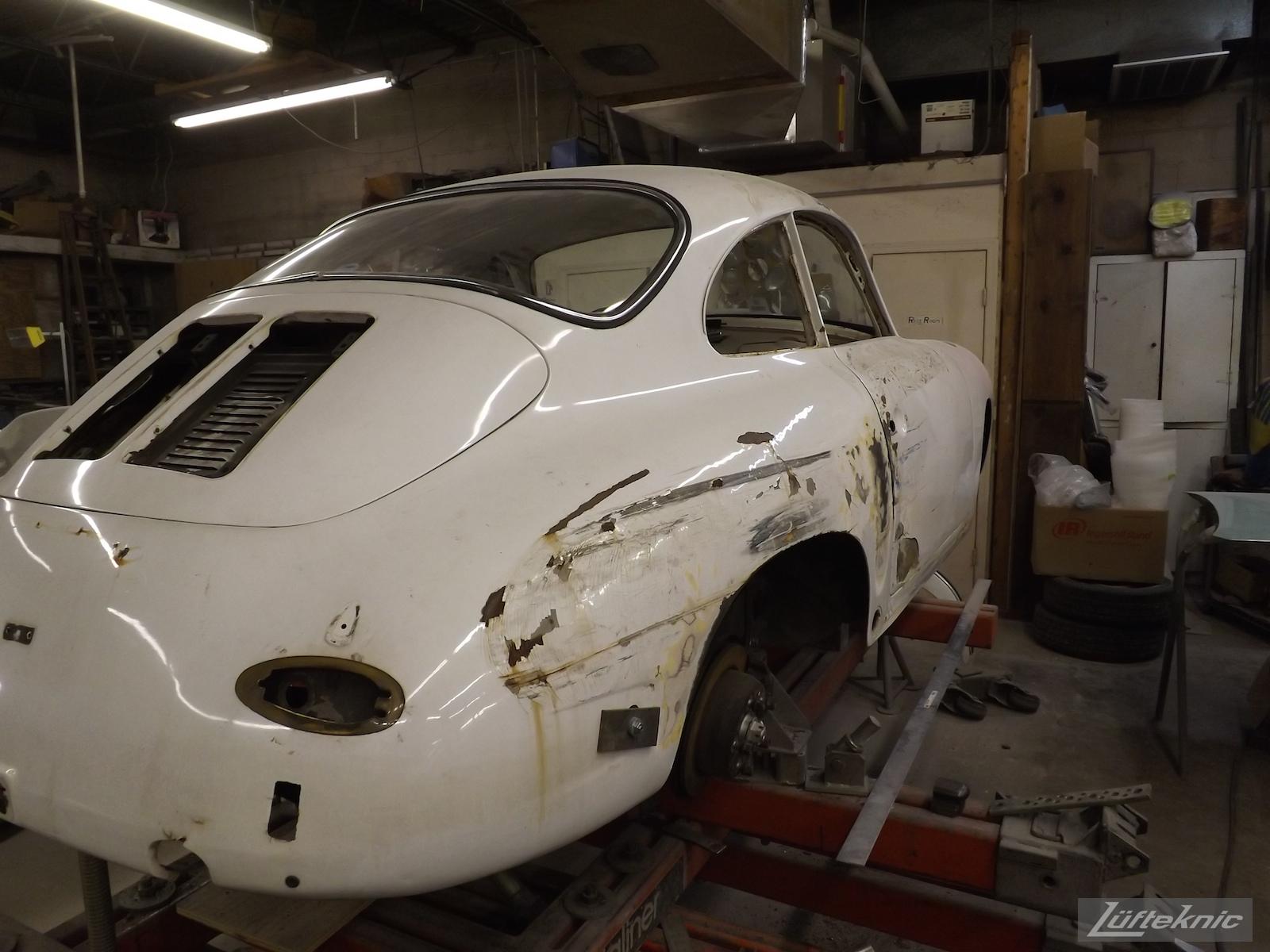 Chassis straightening on a1964 Porsche 356SC restoration.