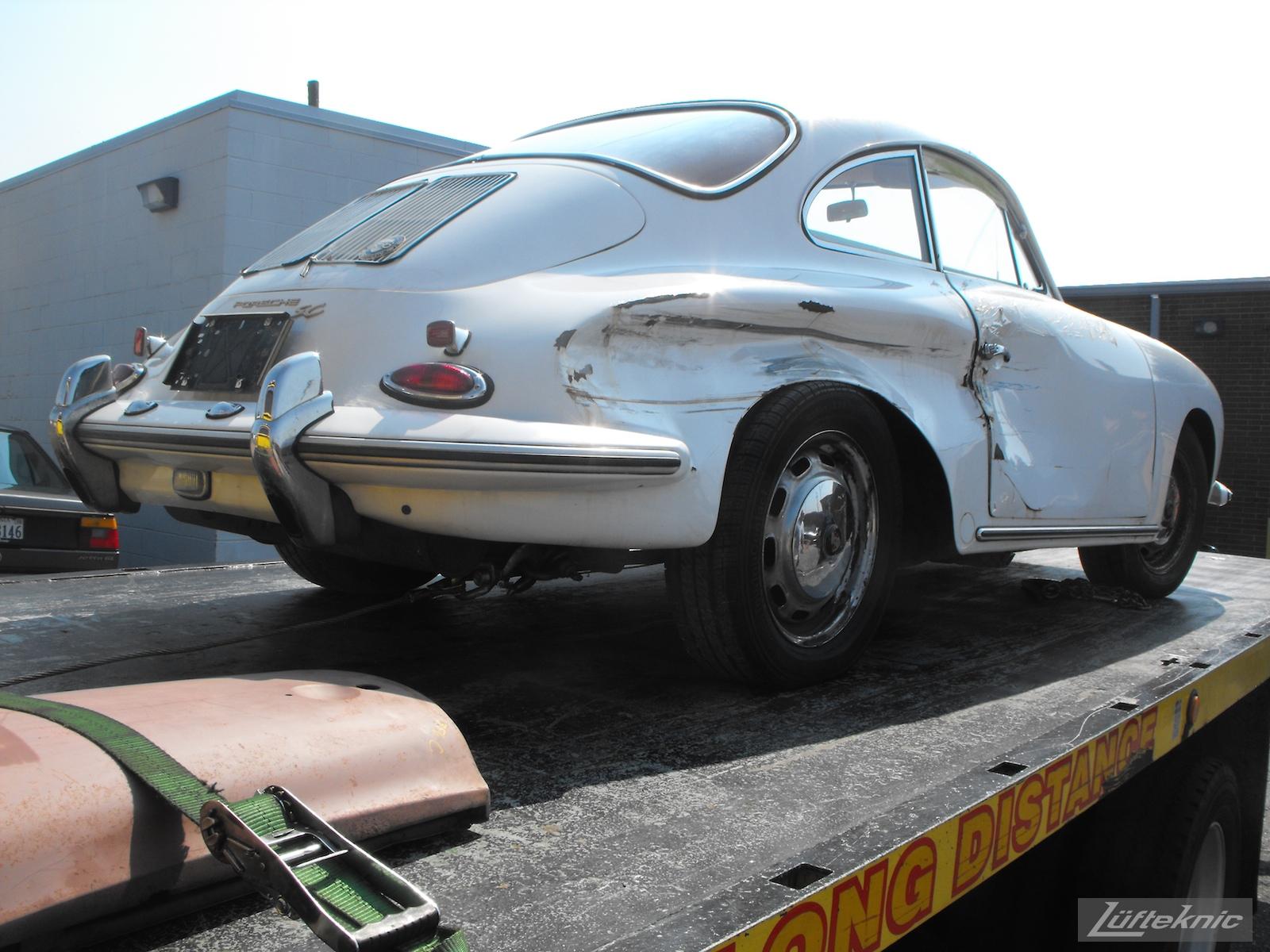 1964 Porsche 356SC restoration being towed in.