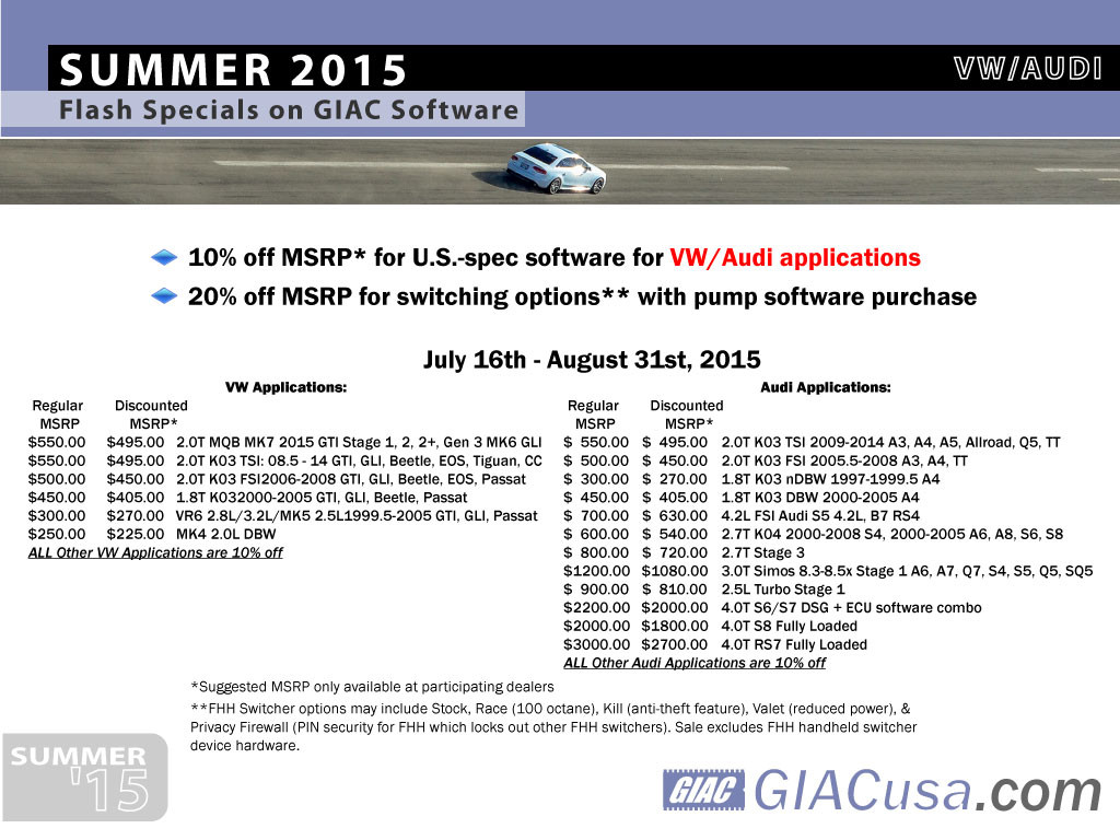 GIAC Summer sale for VW and Audi 2015
