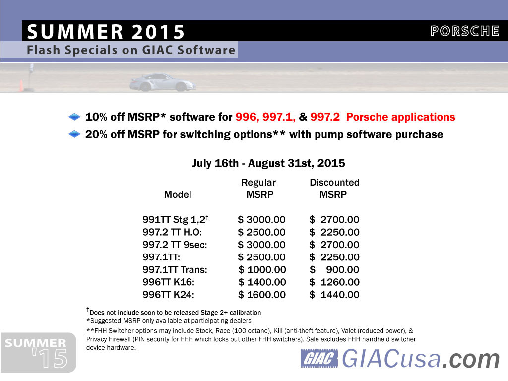 GIAC Summer sale for Porsche 2015