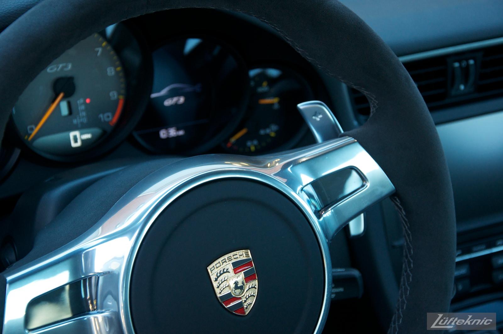 Lüfteknic Porsche 991 GT3 steering wheel and PDK shifter levers