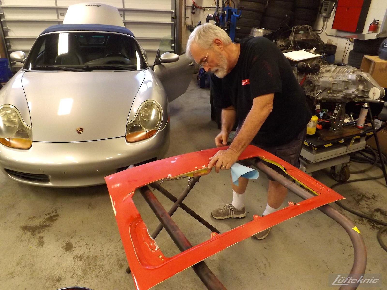Preparing the rear deck lid on projectstuka
