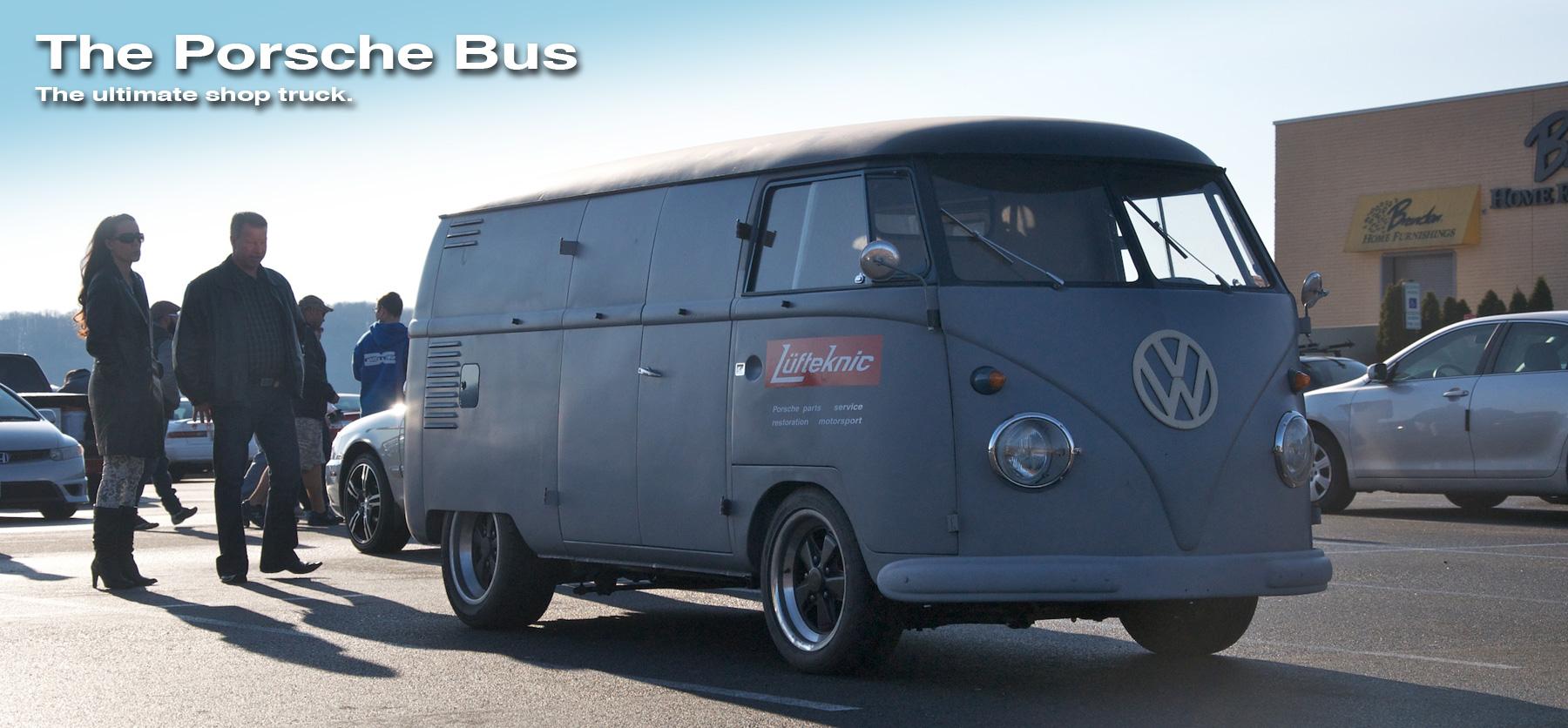 The Porsche bus slider image showing the porschebus in a parking lot.