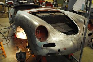 Porsche 356 Roadster being restored.