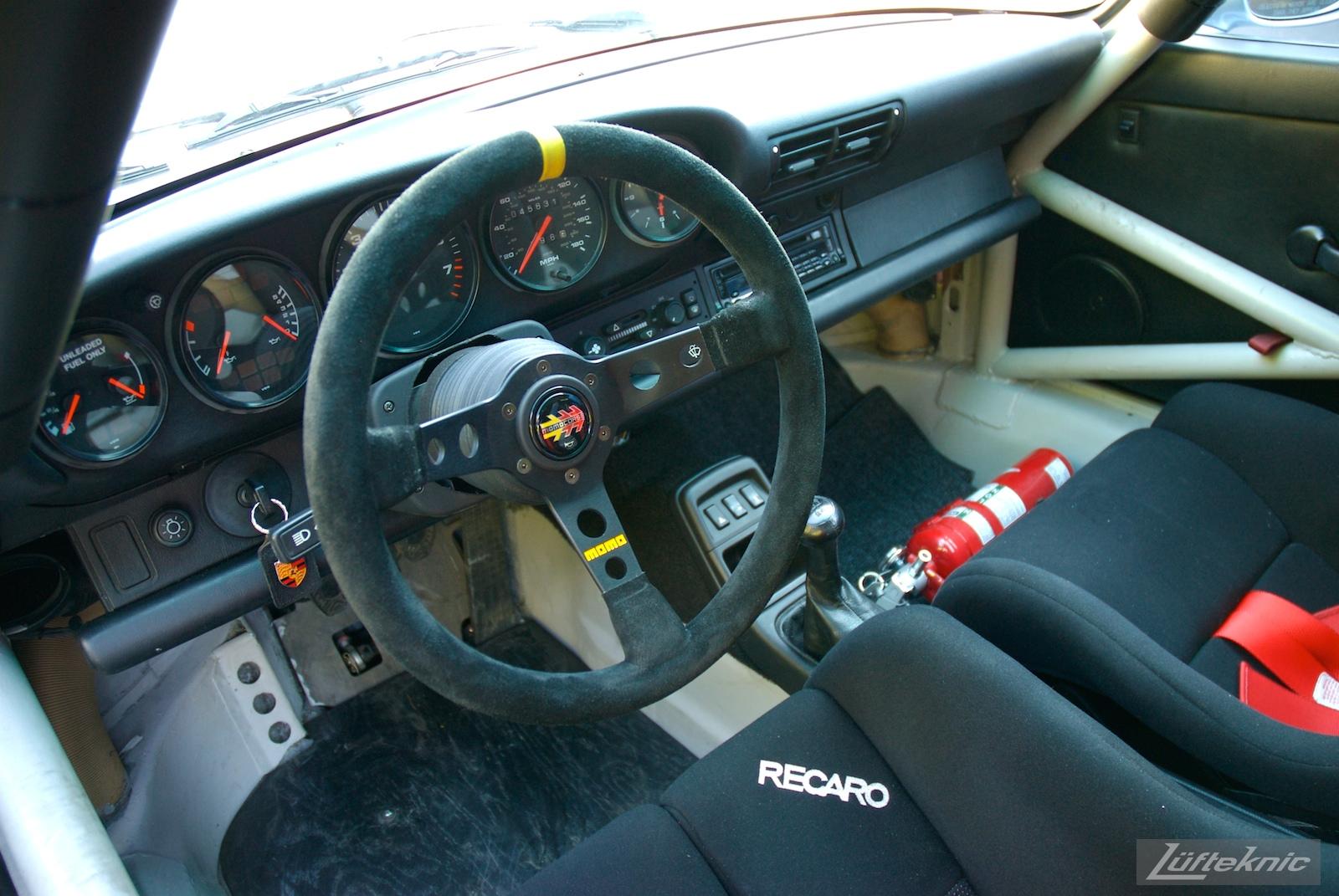 Track prepped Porsche 964 RS America interior.