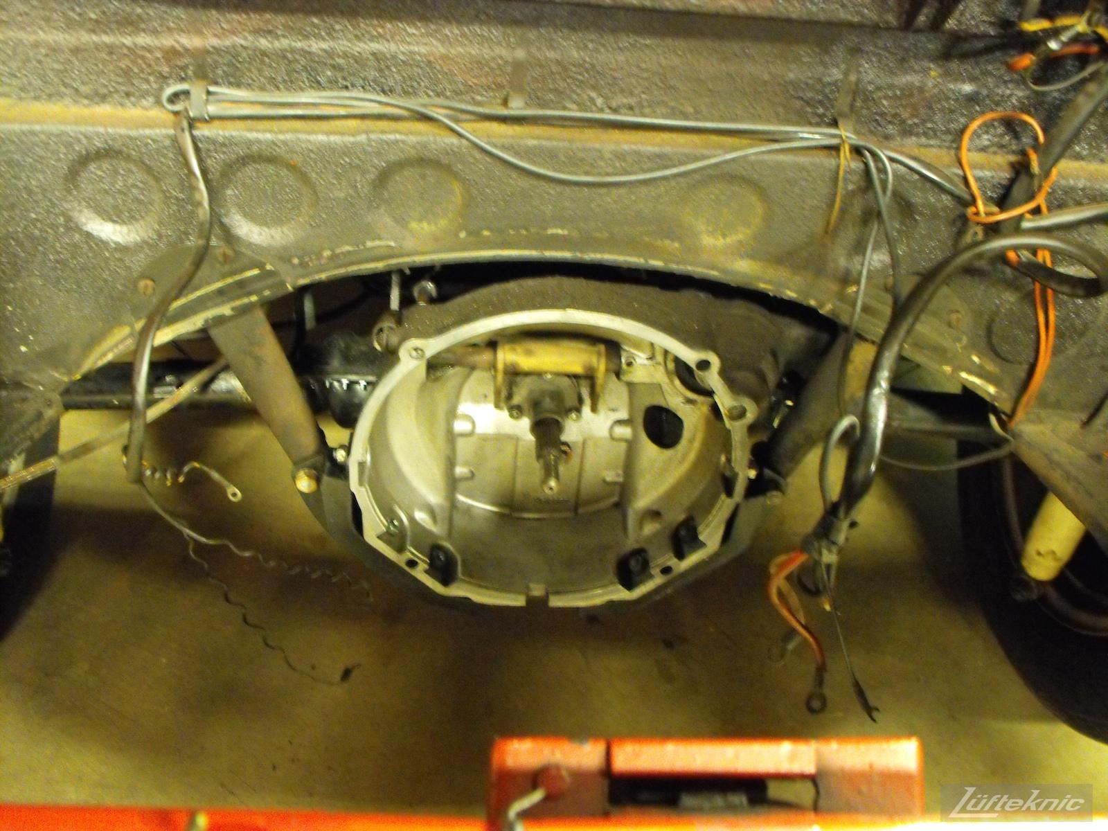 Engine out for a 1961 Porsche 356B Roadster restoration.