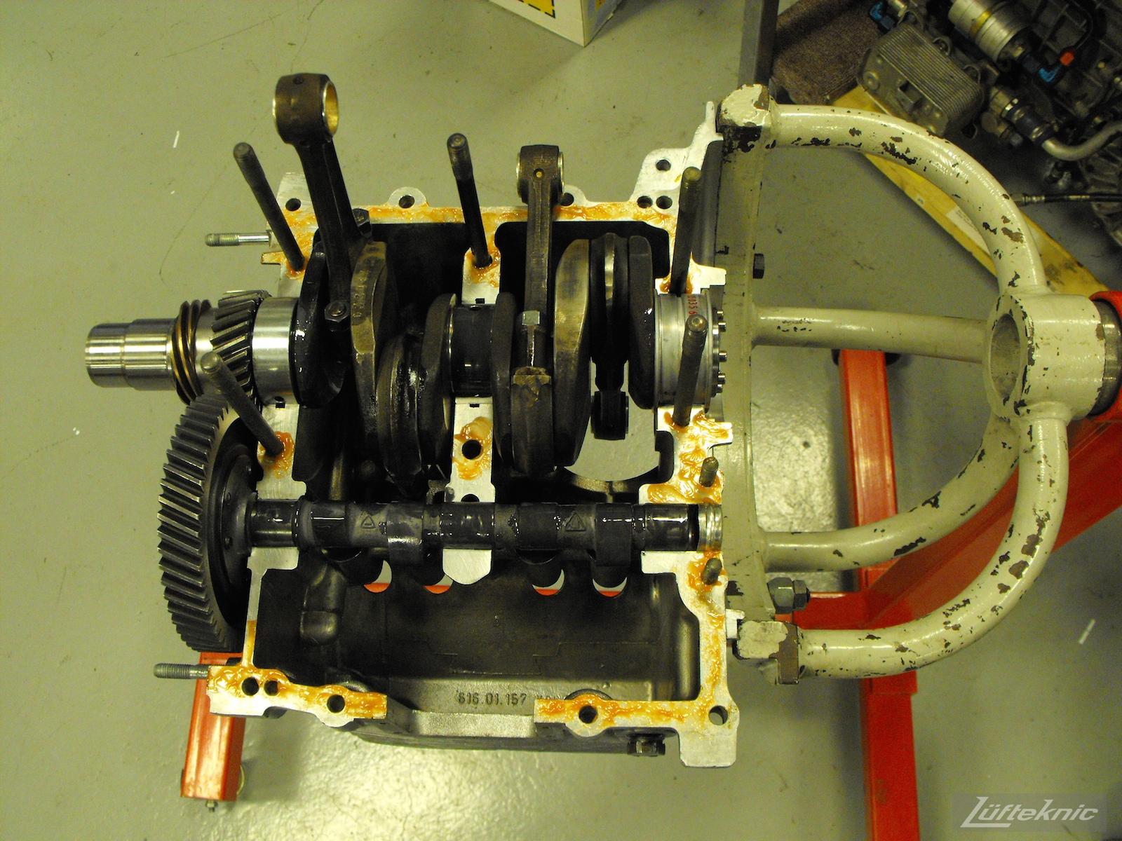 Engine being assembled for a 1961 Porsche 356B Roadster restoration.