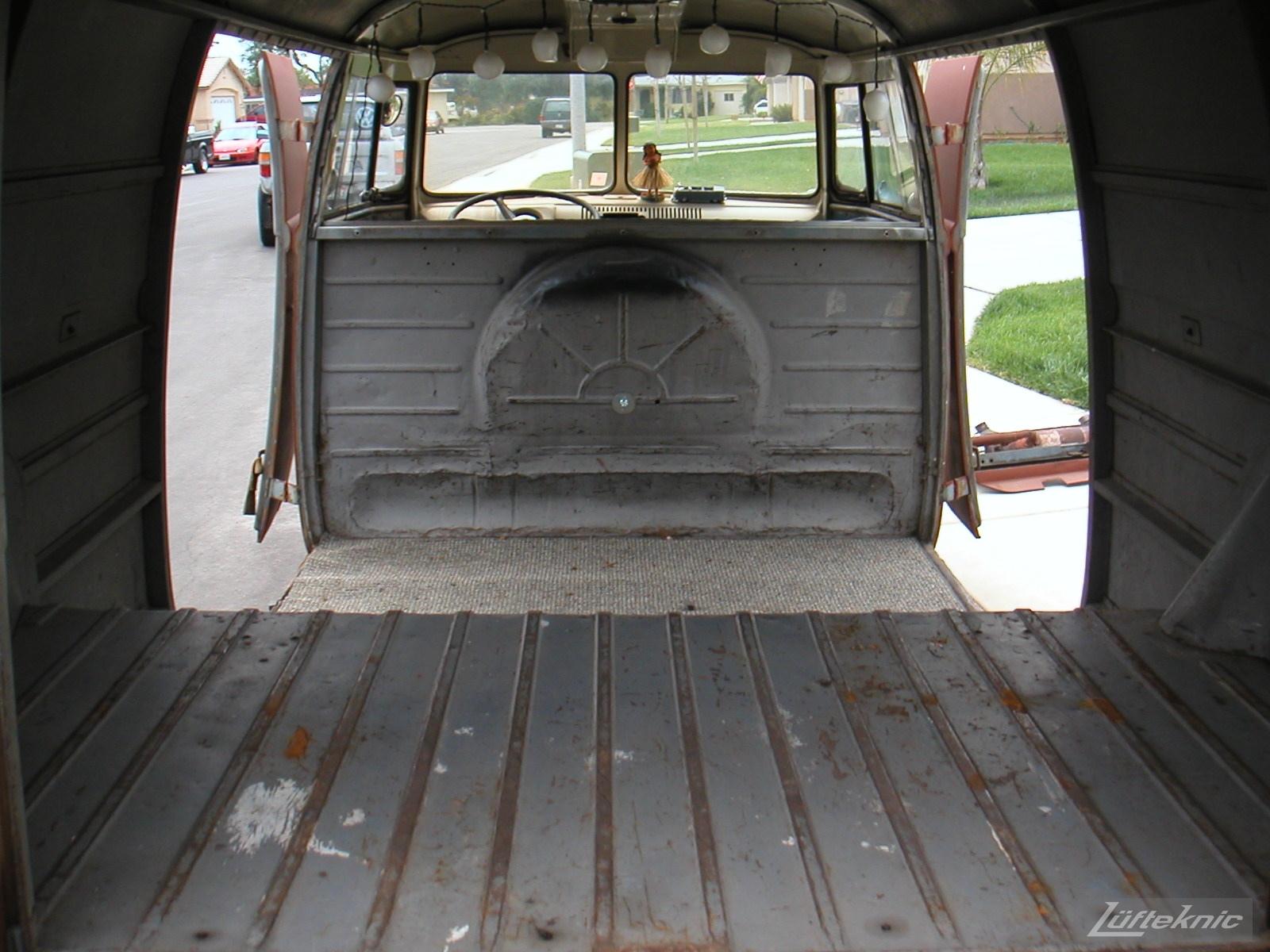 1956 Volkswagen double panel Transporter interior.