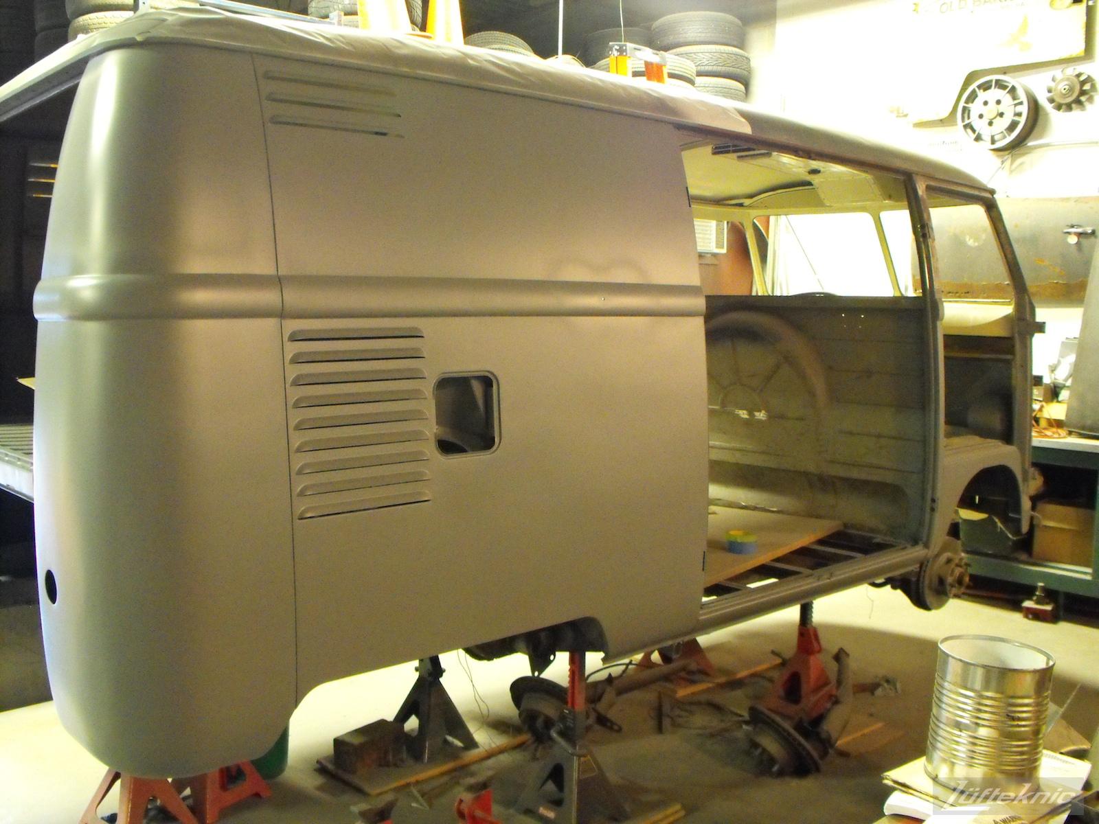 1956 Volkswagen double panel Transporter Porsche Bus in primer.