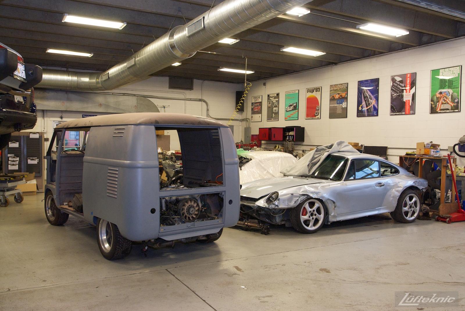 1956 Volkswagen double panel Transporter Porsche Bus with engine installed.