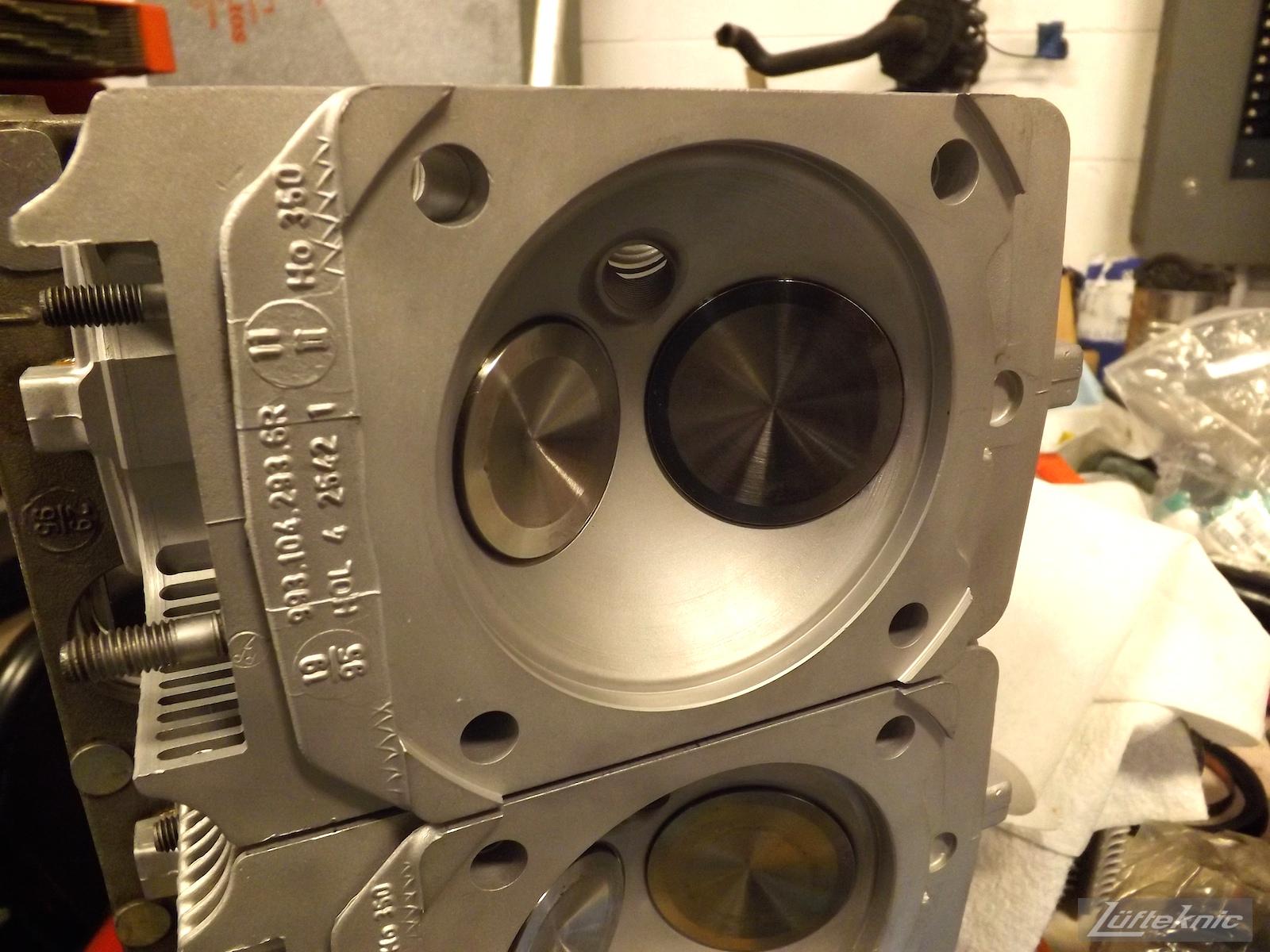 Freshly rebuilt 993 Turbo heads ready for install.