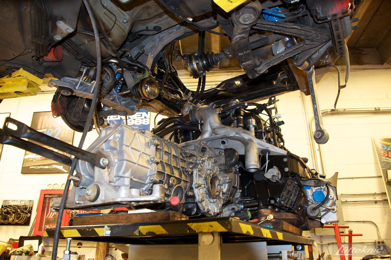 993 Turbo driveline being reinstalled after rebuilding.