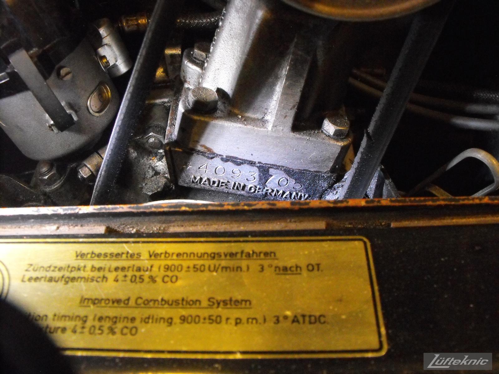 Close up of an engine serial number of an Irish Green Porsche 912 undergoing restoration at Lufteknic.