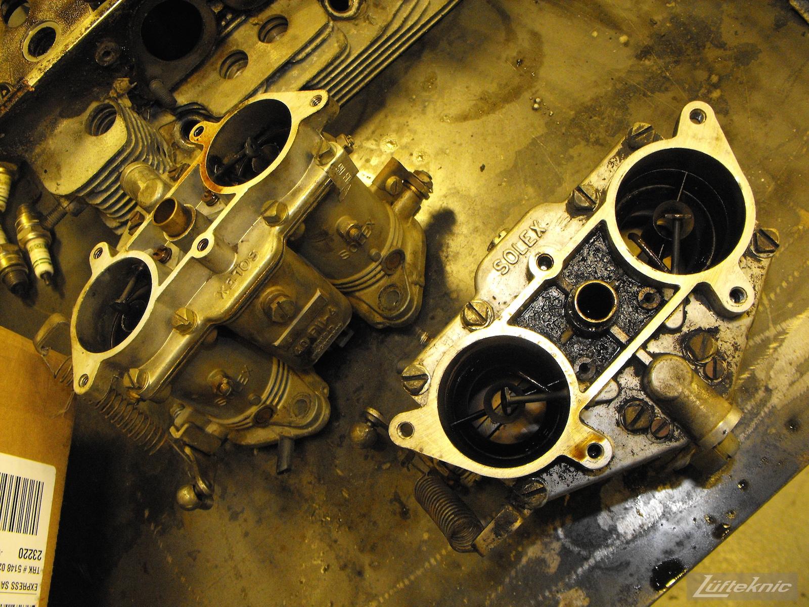 Dirty carburetors from an Irish Green Porsche 912 undergoing restoration at Lufteknic.