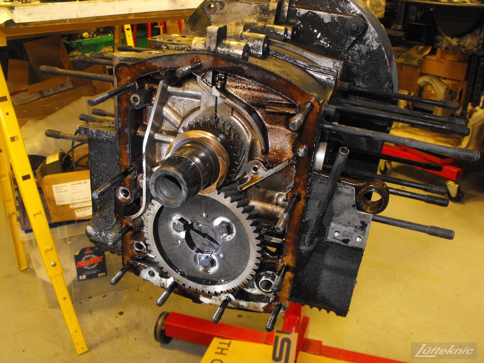 A torn down engine case from an Irish Green Porsche 912 undergoing restoration at Lufteknic.