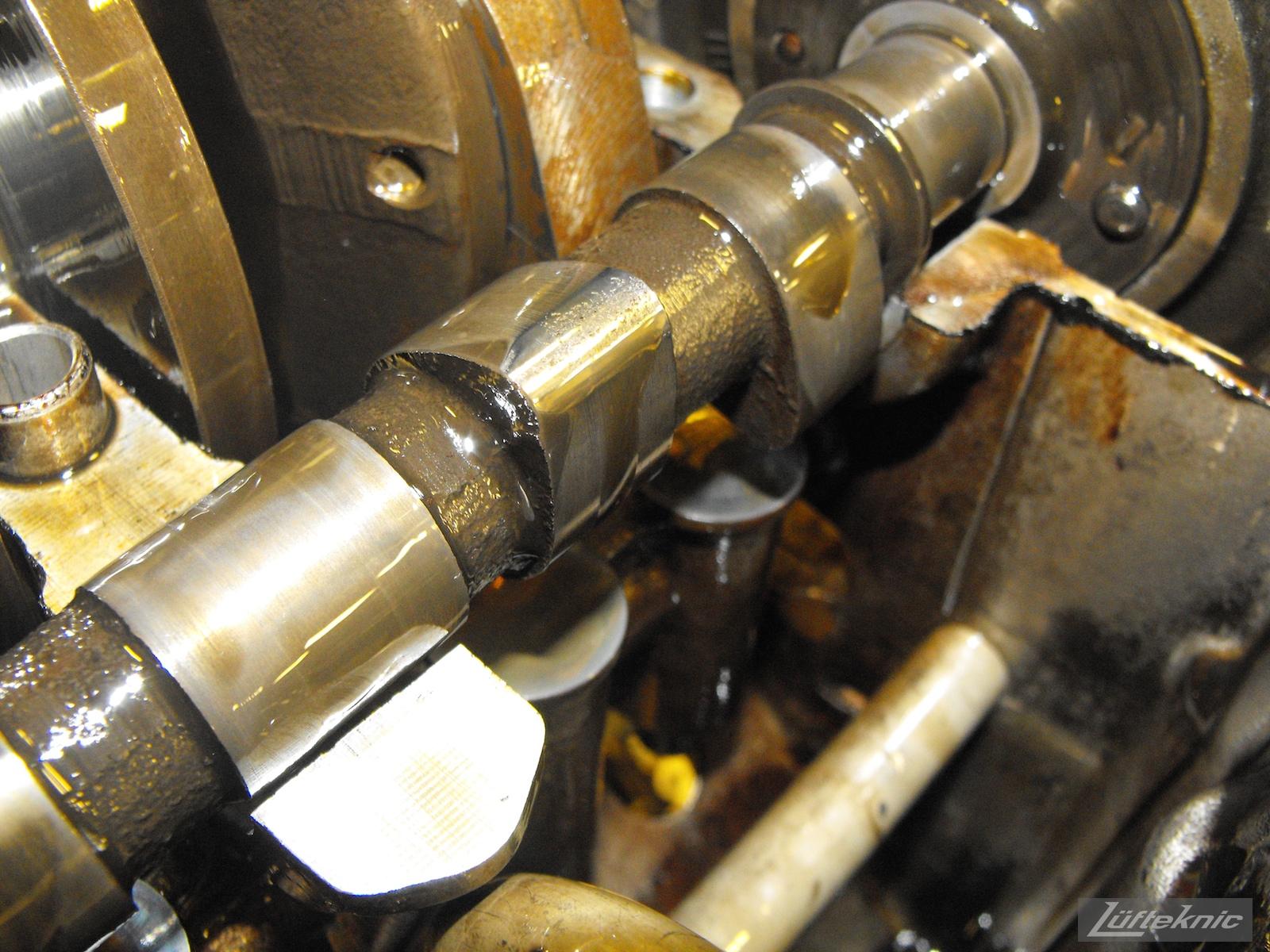 Damaged camshaft lobes from the engine of an Irish Green Porsche 912 undergoing restoration at Lufteknic.