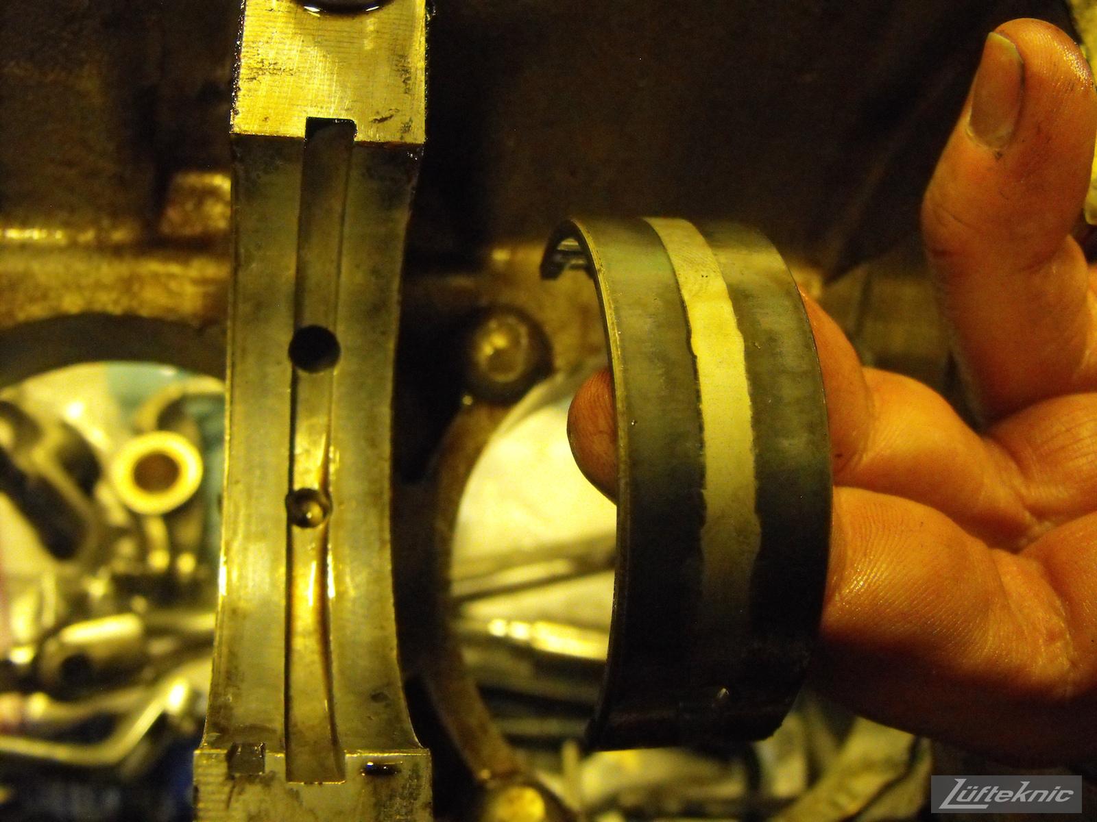Rod bearing close up from an Irish Green Porsche 912 undergoing restoration at Lufteknic.