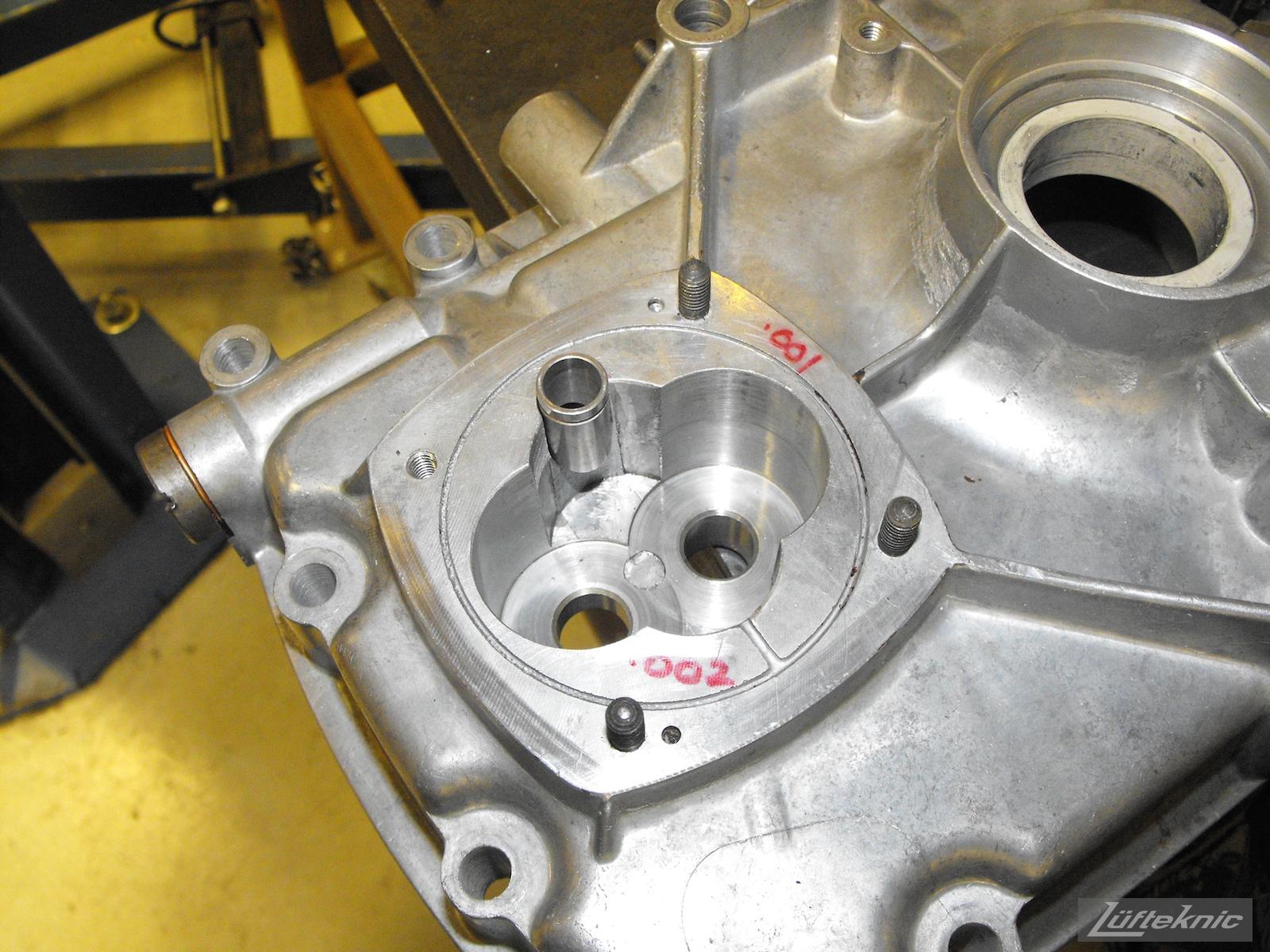 Engine reassembly for an Irish Green Porsche 912 undergoing restoration at Lufteknic.