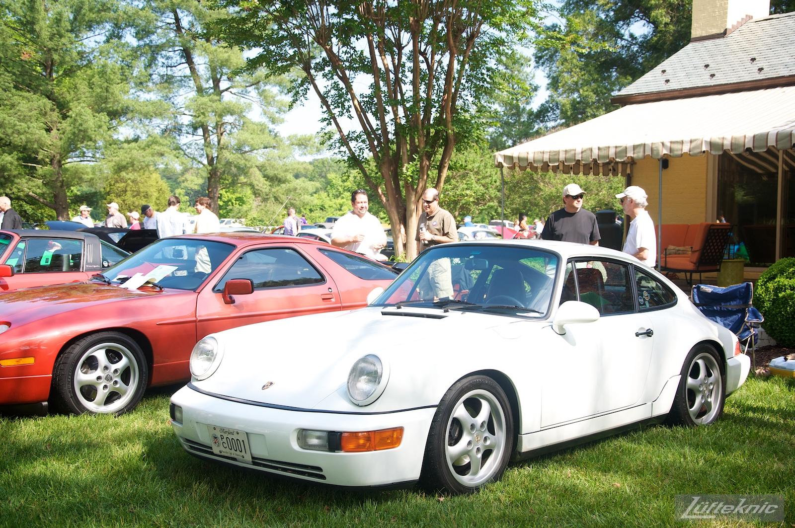 Clean white 964 coupe at the Richmond Porsche Meet.