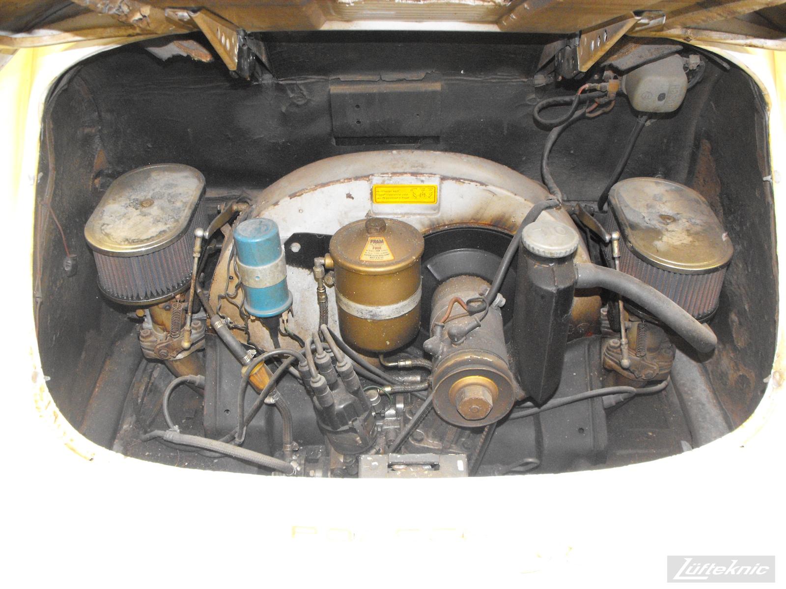 Engine bay on a 1964 Porsche 356SC restoration.