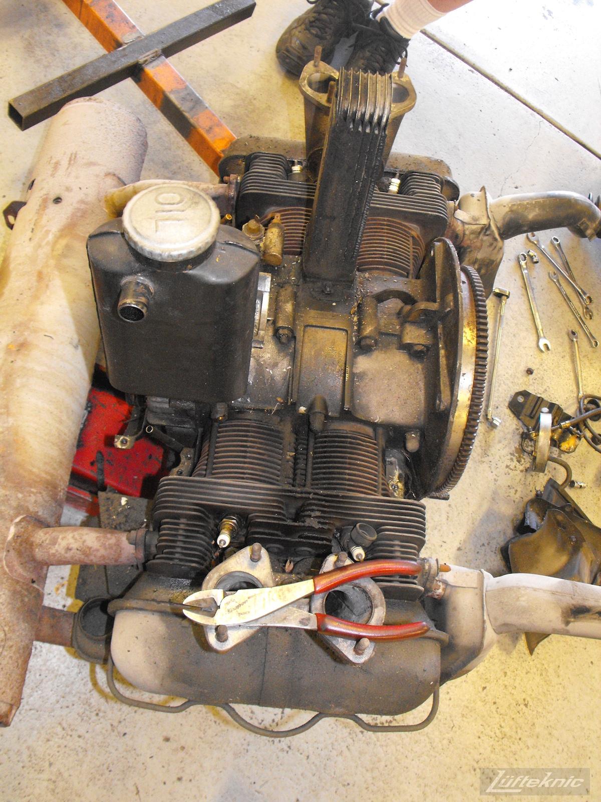 Engine removed for 1964 Porsche 356SC restoration.
