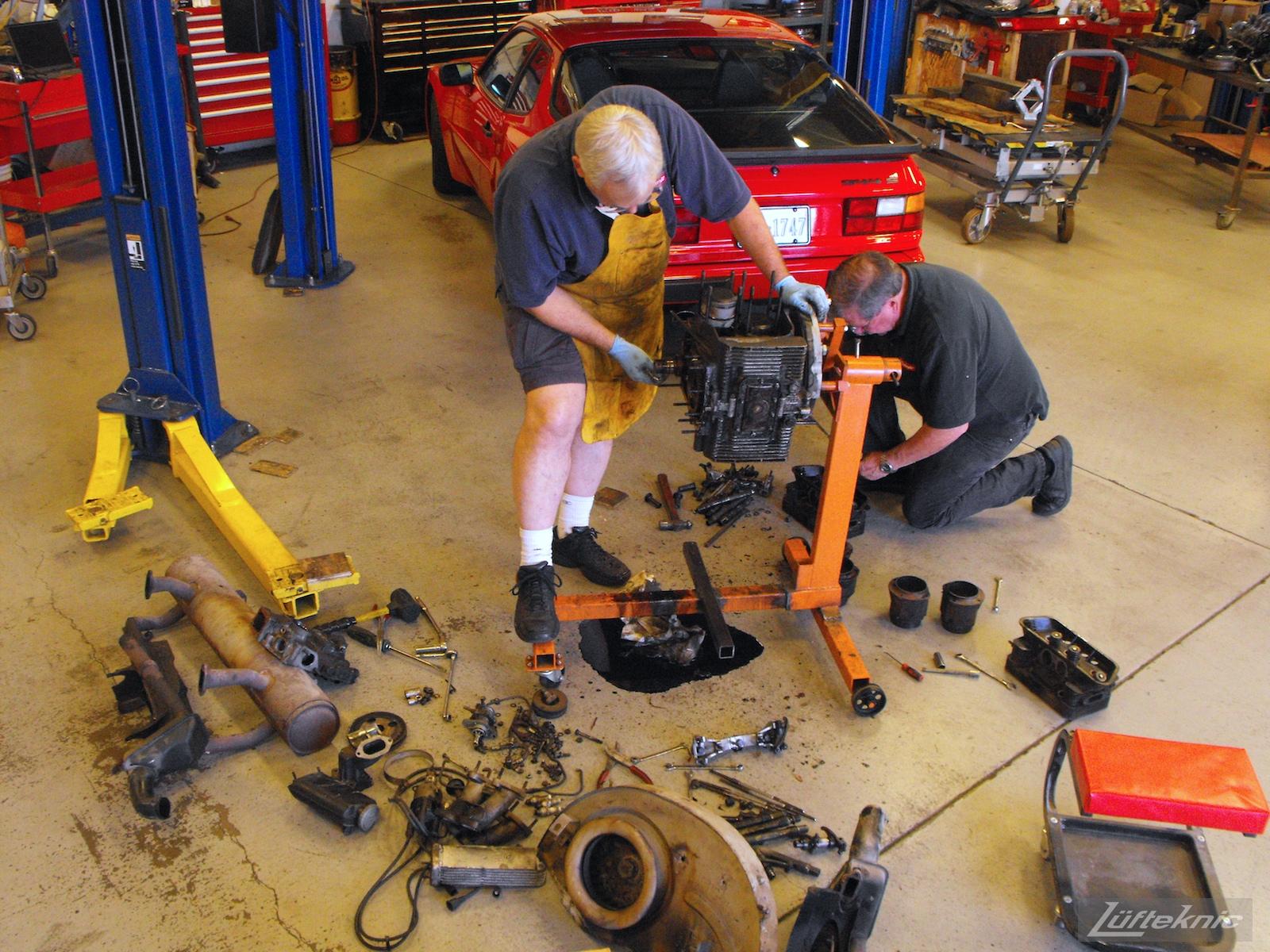 Engine disassembly on a 1964 Porsche 356SC restoration.