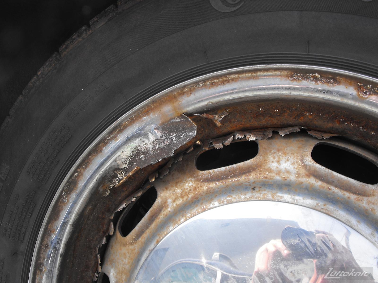 Rusty wheels.