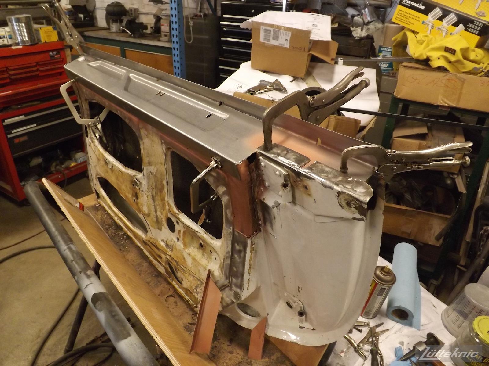 Door repair for a 1964 Porsche 356SC restoration.