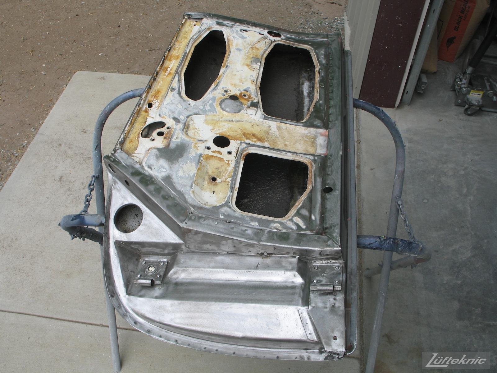 White 1964 Porsche 356SC door restoration